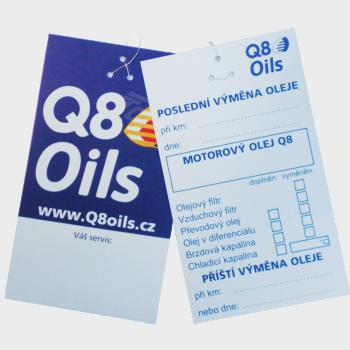 Q8 štítek na výměnu oleje